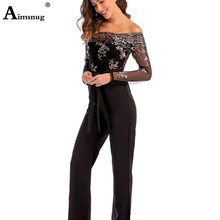 Sexy Sequins Patchwork Rompers Womens Black Elegant Embroidery Sheer Mesh Jumpsuit Off Shoulder Backless Party Playsuit Overalls