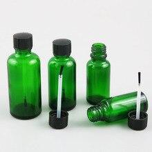 10x5 мл 10 мл 15 мл 20 мл 30 мл 50 мл 100 пилка для ногтей зеленая стеклянная бутылочка с кисточкой для красоты косметические контейнеры простая бутылка