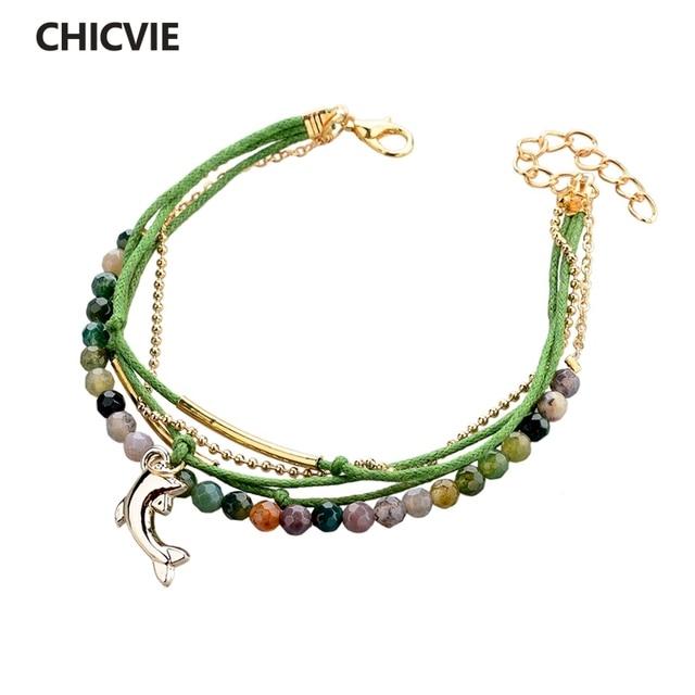 591c8236c809 Chicvie famosos marca cuero Cera pulsera Piedra Natural Cuentas pulseras  para mujeres oro color joyería con