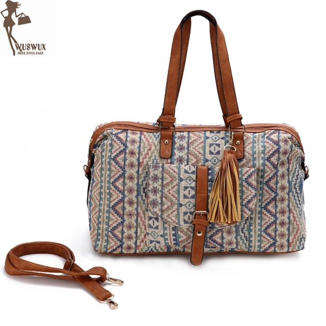 New High End Jacquard Travel Bag Fashion Canvas Luggage Women Bags Casual Duffel
