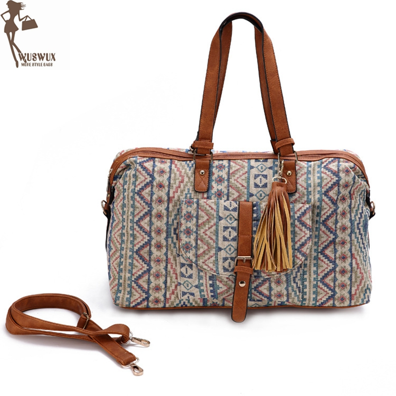 Us 21 6 15 Off New Fashion High End Jacquard Travel Bag Canvas Luggage Women Bags Casual Duffel Ng Cubes Good Quality In