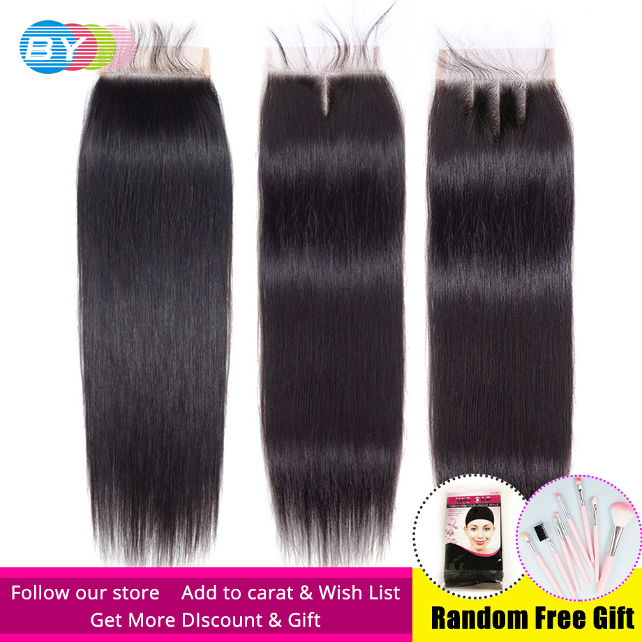BY Brazilian Straight Hair Hd Closure 4x4 Swiss Lace Closure Free/Middle/Three Part 8 To 22 Inch Remy Human Hair Lace Closures