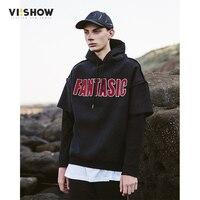 VIISHOW Hoodies Brand Men Letter Printing Sweatshirt Patchwork Sleeve Male Hoody Hip Hop Autumn Winter Hoodie