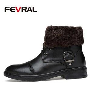 Image 2 - FEVRAL ماركة الرجال الأحذية الخريف الشتاء جلد أصلي للرجال مطاط مقاوم للمياه الثلوج الأحذية الترفيه الأحذية England الرجعية للرجال