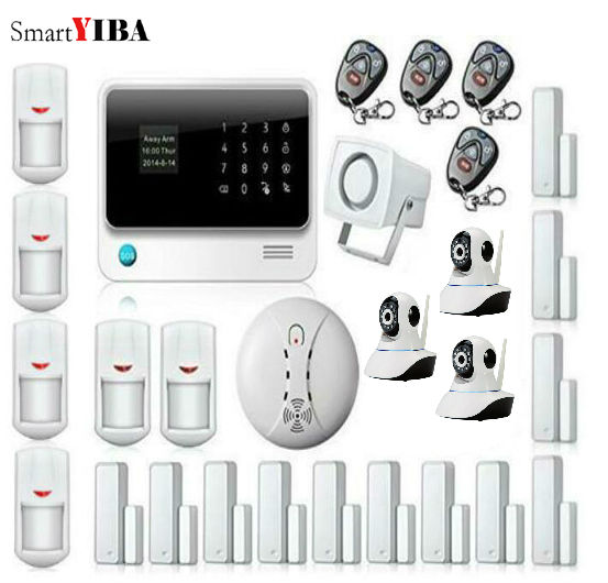 SmartYIBA Smart Home WIFI IP Camera Security System For Wireless GSM WIFI GPRS Alarma Casa Motion Sensor Smoke Alarm Sets smartyiba wireless wifi gsm gprs rfid home security alarm system home automation system ip camera smoke fire sensor detector