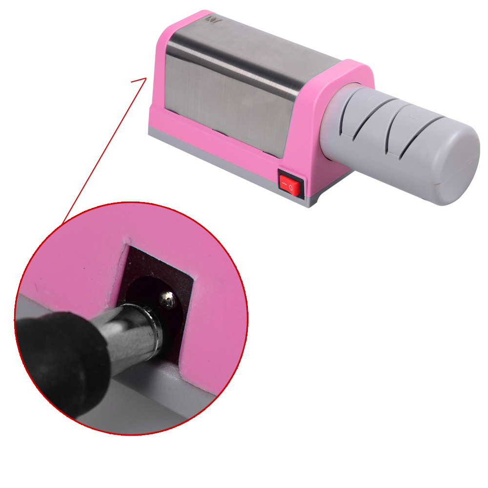 Pinke Küchenutensilien Us 23 84 76 Off Xyj Brand Pink Color Kitchen Knife Sharpener 2 Slot Electric Diamond Steel Ceramic Knife Sharpener Practical Cooking Tools Sale In