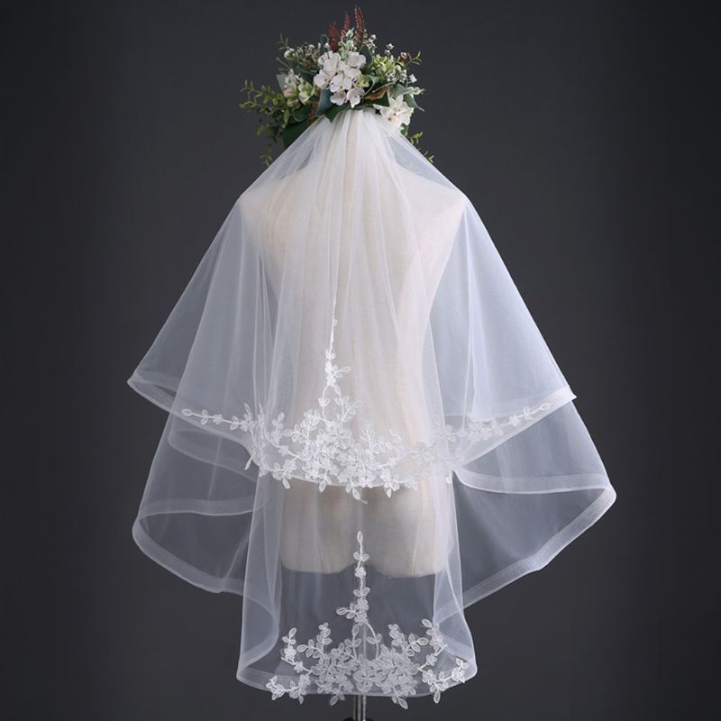 Double Layer Womens Tulle Fingertip Length Wedding Veil Embroidered Leaves Applique Wide Wavy Trim Bridal Veil With Comb