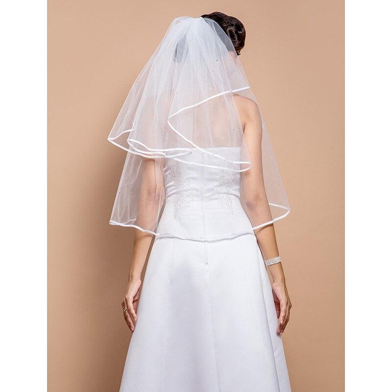 LAN TING BRIDE Duas Camadas Borda com Tira Vus de Noiva Vu Cotovelo Com Pedrarias 31,5 cm (80cm) Tule Linha-A, Vestido de Baile,