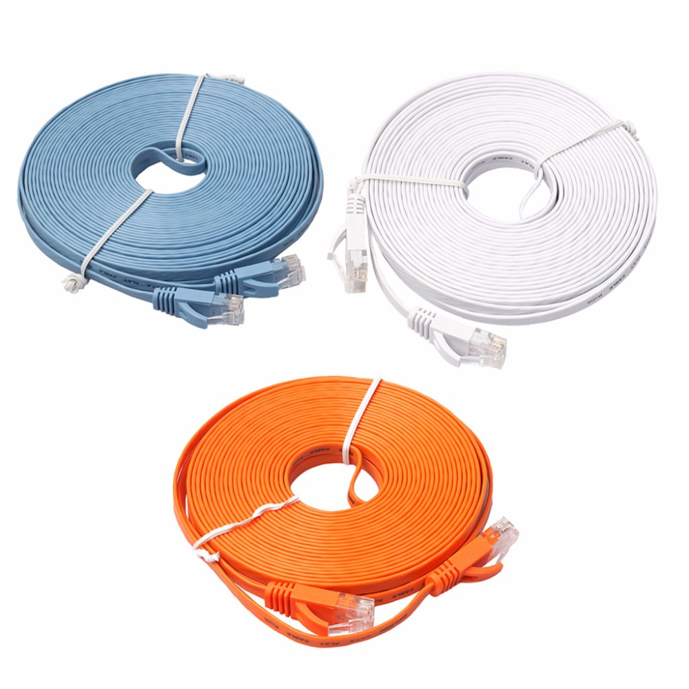Ethernet CAT6 Internet Network Flat Cable Cord Patch Lead RJ45 For PC Router vivanco 45313 cat 6e network lead transparent 10m