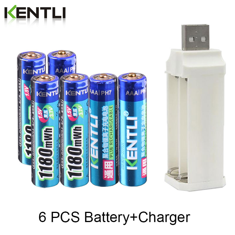 KENTLI 1.5v 1180mWh Aaa Lithium Rechargeable Batteries + 4 Slots Charger for Clock Remote Controller Toys Electronic
