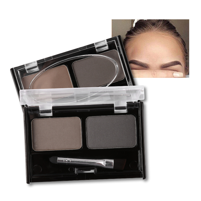 Professional Brand Eyeshadow Cake Makeup 2 Color Waterproof Eyebrow Powder Eye Shadow Eye Brow Palette + Brush Eyebrow Enhancer 5