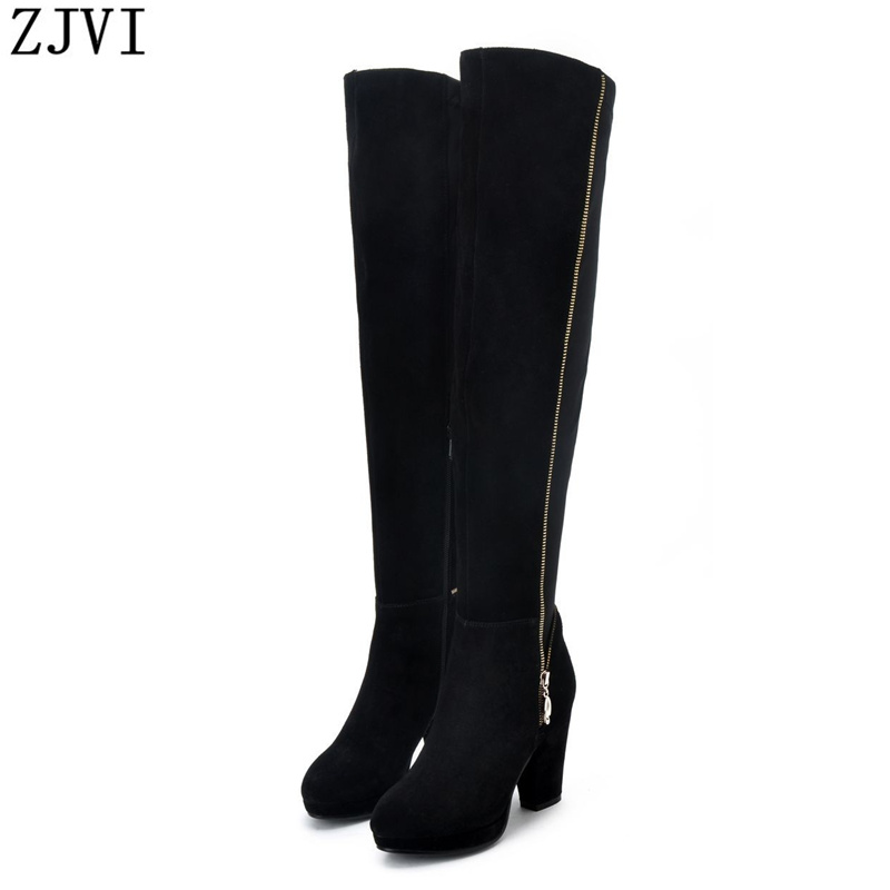 ФОТО ZJVI nubuck Genuine leather Black Brown Women Over the Knee Riding boots fashion high heels ladies shoes womens winter boots