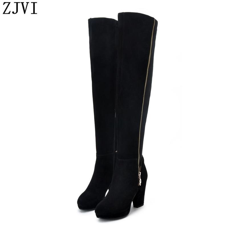 ФОТО ZJVI nubuck Genuine leather Black Brown Women Over the Knee Riding boots fashion high heels ladies shoes womens winter boots