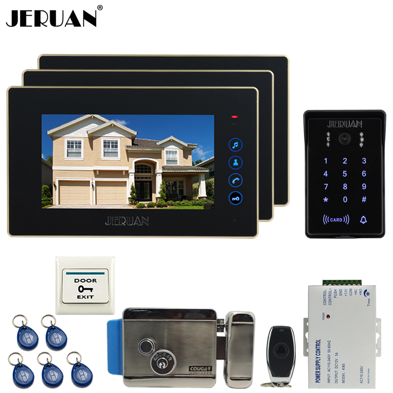 JERUAN 7 inch video doorphone intercom system kit 3 monitor waterproof touch key password keypad camera Electric control lock jeruan 8 inch lcd video doorphone recording intercom system kit new rfid waterproof touch key password keypad camera 8g sd card