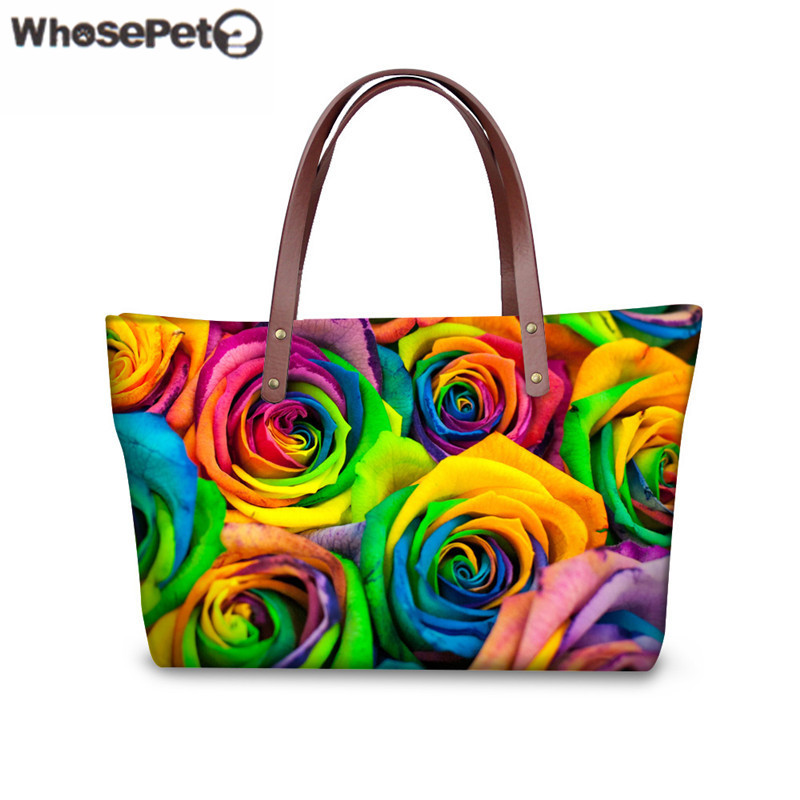 WHOSEPET Rose Printed Tote Top handle Bag for Women s Fashion Handbags High Quality Shoulder Bag
