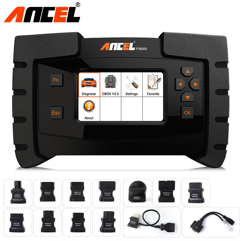Ancel FX6000 Car All System Diagnostic Tool Automotive Scanner ABS SRS Transmission DPF Reset EPB Immo OBD2 Scanner Programming ancel fx6000 full system obd2 automotive scanner for transmission abs airbag sas engine epb check reset programming obd2 scanner