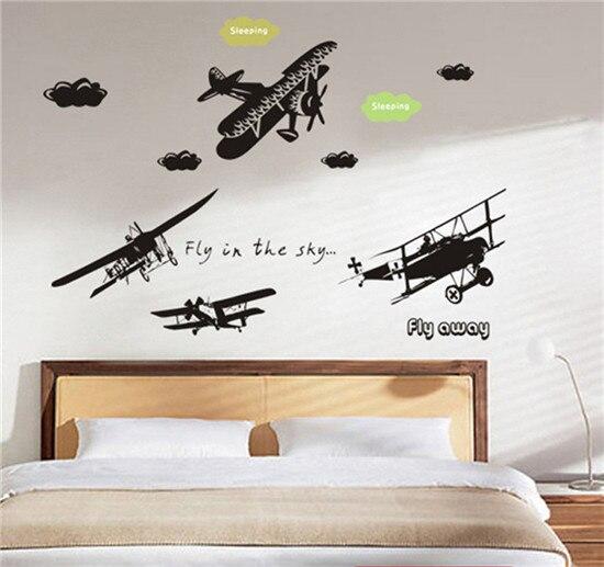 Grande 3D avión Europeo Negro extraíble etiqueta de la pared Decoración de La Pa