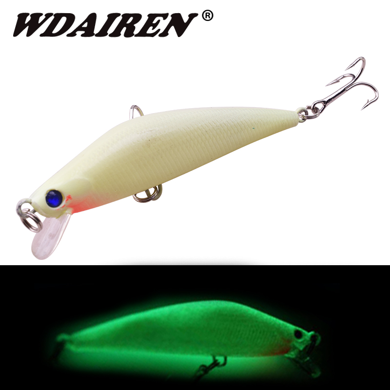 1Pcs 3D Luminous Minnow Night Fishing Bait 8cm 10g Wobblers Artificial Hard Lures Warped Bass Isca Crankbait Fishing Tackle
