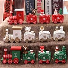 Рождественский поезд расписной деревянный Рождественский Декор для дома с Сантой/медведем рождественские детские игрушки подарок орнамент navidad подарок на год
