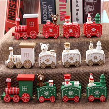 New Christmas Train Painted Wood Christmas Decoration for Home with Santa/bear Xmas kid toys gift ornament navidad new year Gift(China)
