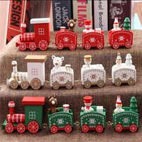 Nuevo tren de navidad pintado madera decoración de navidad para el hogar con Santa/oso navidad chico juguetes regalo ornamento navidad regalo de Año Nuevo