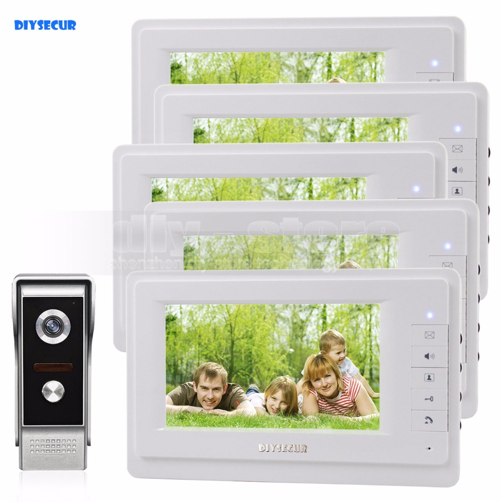 все цены на  DIYSECUR 7 inch TFT Color LCD Display Video Door Phone Video Intercom Doorbell 700TVLine HD IR Night Vision Camera 1V5  онлайн