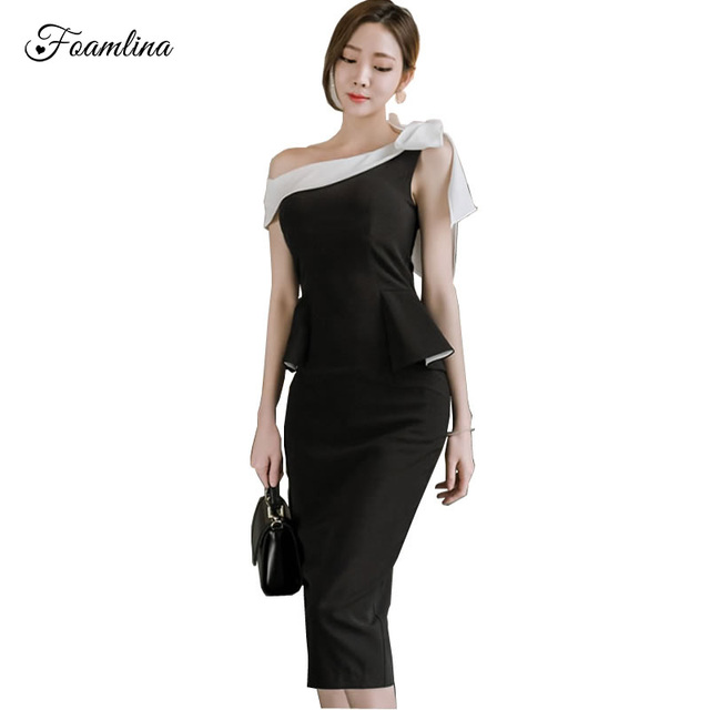 8a503b55c7dcf5 Foamlina Women Elegant Work OL Dress Summer Fashion Patchwork Slash Neck  Bow Sleeveless Peplum Midi Office Sheath Bodycon Dress