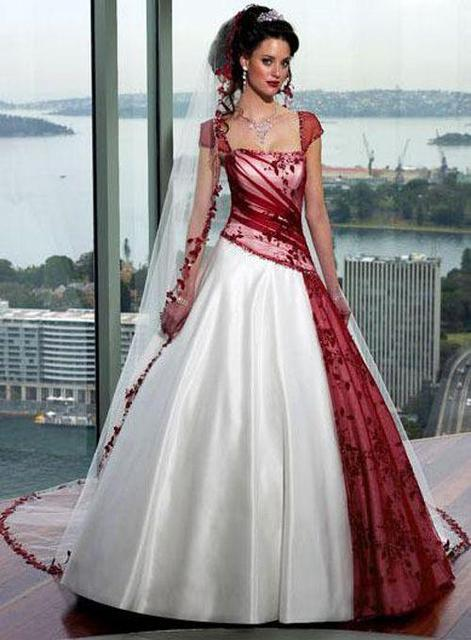Red and White Gothic Wedding Dresses Without Veil Cap Sleeves Ruched ...