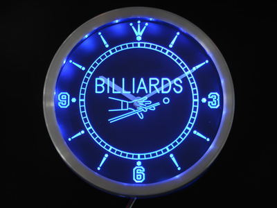 nc0299 Billiards Pool Room Table Bar Neon Sign LED Wall Clock
