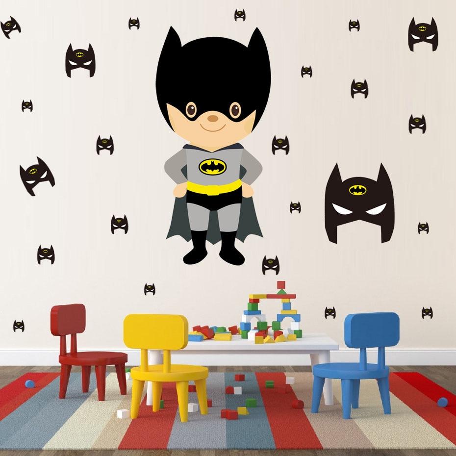 ᗖSuper héroe Batman dibujos animados etiqueta de la pared arte de ...