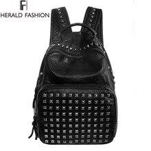 Women Waterproof PU Leather Rivet Backpack Ladies Backpacks For Teenage Girls Bags With Zippers Black Bags