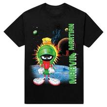 9db47388b502 Looney Tunes Men s Marvin The Martian Graphic T-Shirt Black Tee Cartoon TV  NWT 2019 fashion t shirt