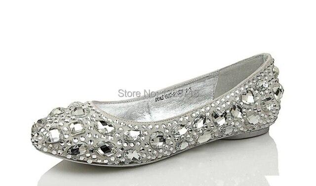 Silver Crystal Bling Bling Bride Flats Diamond Wedding Shoes Rhinestone  Women Flat Sapatos Femininos Size 11