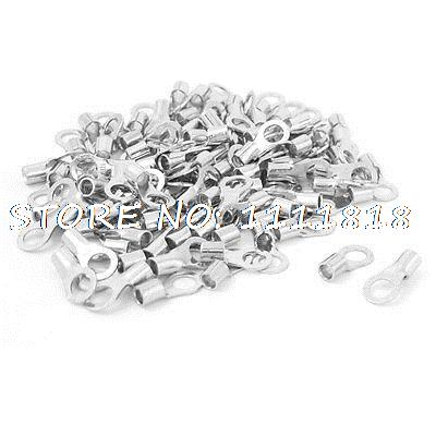 100 Pcs 5mm Ring Dia 14-12 AWG Non Insulated Crimp Terminals Connectors 1000 pcs rnb5 5 6 awg 12 10 non insulated ring terminals connectors
