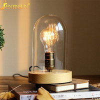 Free Shipping Art Deco Desk Lamp Bedroom Lamp E27 Edison Vintage Oak Wooden Table Lamp Bedside