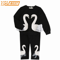 Girls Suit 3 7yrs Baby Girls Clothing Sets New 2018 Spring Children Clothing Sets Lovely Swan