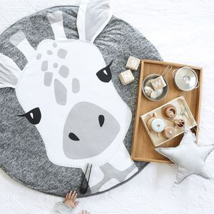 Image 4 - 90CM INS Baby Play Mats Crawling Carpet Animal Round Floor Rugs for Kids Baby Blanket Cotton Game Pads Children Room Decor