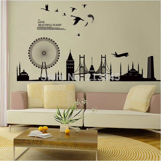 Fundecor DIY wall sticker home decor decals modern city ... on Room Decor Stickers id=32165