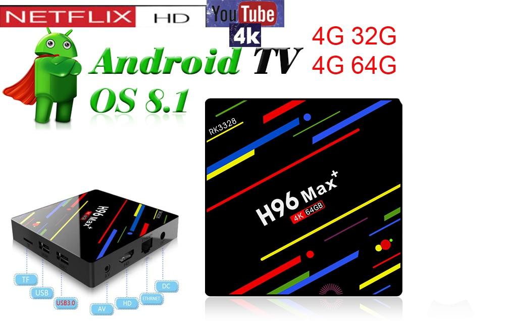 h96 max plus tv box android 8.1 rk3328 vs mx10 kd18.0 4GB 64GB/32GB EMMC keyboard optional quad core 100m lan media player