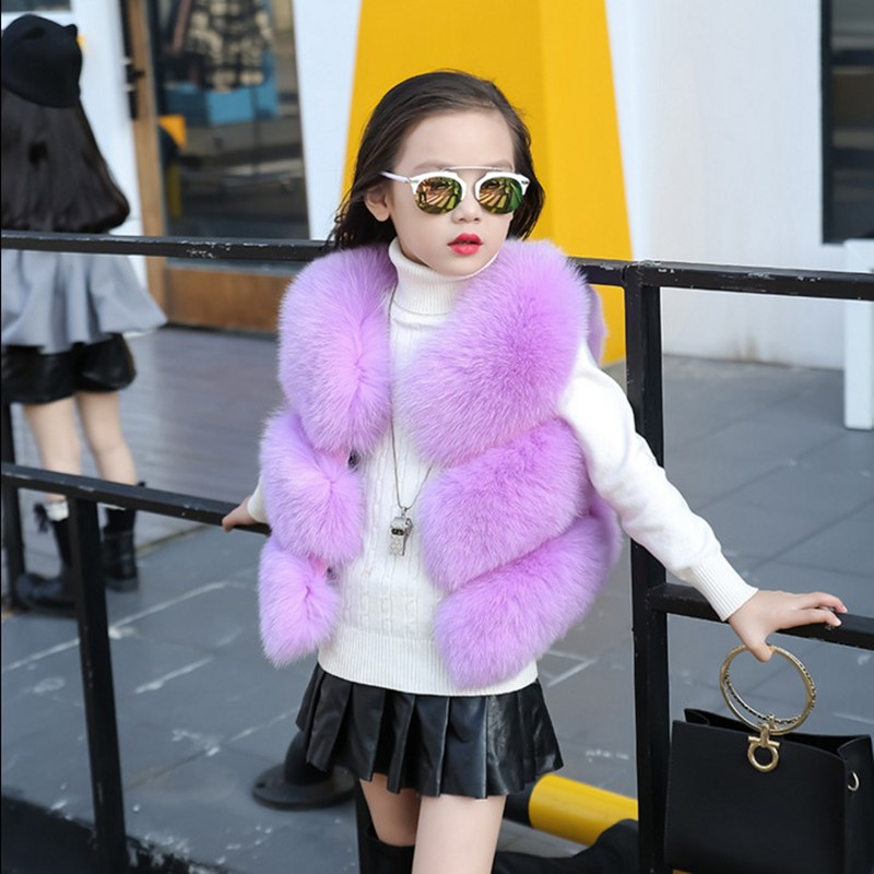 CHCDMP Children's Girl Vest Imitation Fox Fur Coat Winter Girls Fashion Pink Warm Vest Coat Gray Outwear V-neck Purple Waistcoat floral slash neck vest