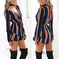 Celeb Women Striped Playsuit Ladies  Jumpsuit Summer Shorts Beachwear  Playsuits  6-14