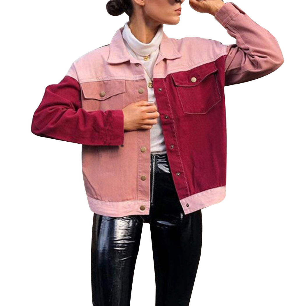 2018 New Women   Basic     Jacket   Fashion Red Pink Color Block Coat Autumn Button Pockets   Jackets   Harajuku Streetwear Female Outwear