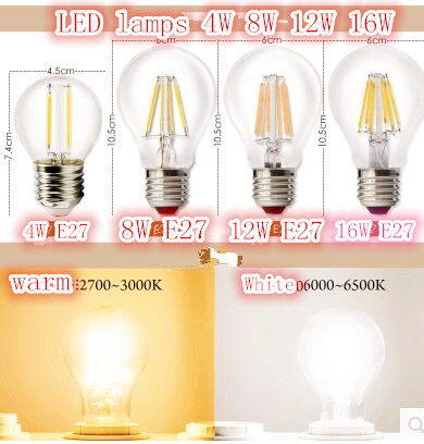 Antique Retro Vintage Edison LED Light E27 B22 Incandescent dimmable Lamp AC:220V 4W 8W 12W 16W A60 LED Bulb for Home Decoration