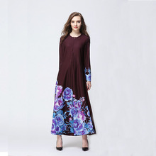 Muslim Abaya Women chiffon Robe Long sleeve print flower Arabic Abayas Robes Kaftan Islamic