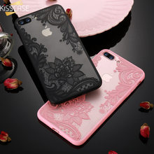 KISSCASE Case For iPhone 6S 6 7 8 Plus XS Max Cover 3D Lace Flower Phone Shell For iPhone 5S 5 SE XR X 10 Sexy Lace Cases Capa(China)