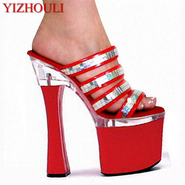 26792d075349 Fashion 18cm Spool Heels Women Platform Sandals Ladies Sexy Punk Shoes 7  Inch High Heels Glitter Female Slippers