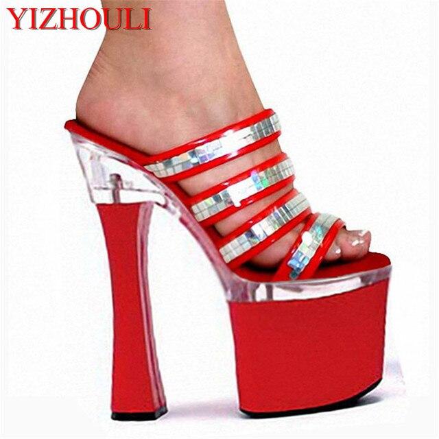 Fashion 18cm Spool Heels Women Platform Sandals Ladies Sexy Punk Shoes 7  Inch High Heels Glitter