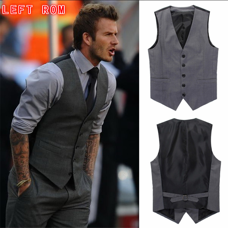 Men's Boutique Autumn 2016 Quality Slim Fit Leisure Cotton Suit Vest/Male Gentleman Beckham Business Vest/Male Black Vest