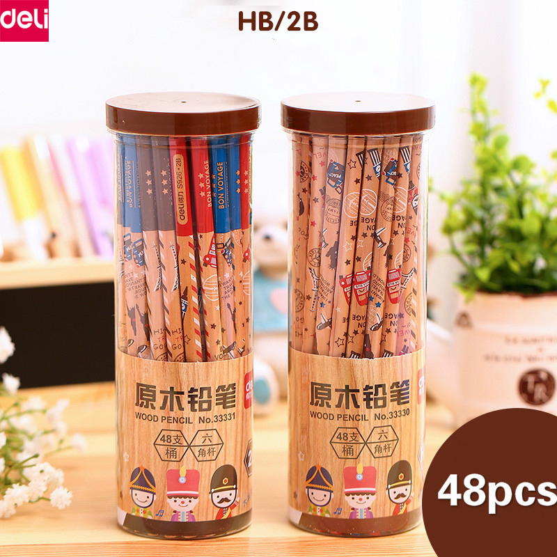 Deli Wooden Sketch Pencils Set 2B HB Writing Pencil Kawaii Stationery for Student Kids Office School Supplies 12pcs candy color cute pencil hb 2b school stationery store student kids triangle graphite drawing sketch wood pen office supply