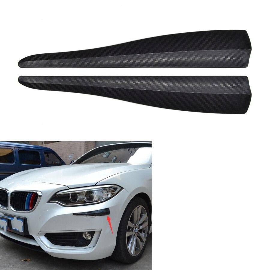 YAQUICKA 2Pcs/set 283mm Black Carbon Fiber Look Car SUV Front Bumper Lip Corner Guard Anti-Crash Strip Universal Car Use